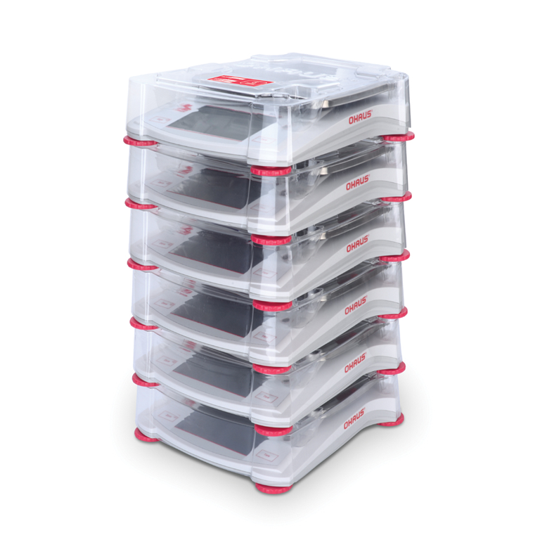 Ohaus Scout STX Portable Balances stacking six.